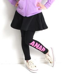 新品ANAPKIDS☆130 ロゴ スカッツ 黒 スカート&レギンス アナップキッズ