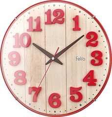 Felio フェリオ 壁掛け時計 レッド
