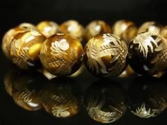 金運アップ 金彫皇帝龍タイガーアイブレスレット 14ミリ数珠パワーストーン