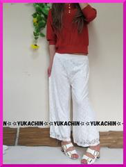 新作◆大きいサイズ3Lホワイト×花柄レース◆ウエストゴムワイドパンツ