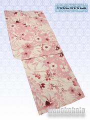 【和の志】女性用浴衣◇Fサイズ◇クリーム系・撫子・萩652-3