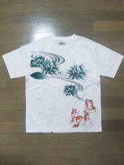 ☆訳アリ新品[絡繰魂]蓮蛙に金魚づくし 半袖Tシャツ スカジャン好きにも