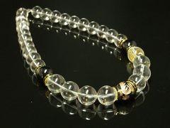 運気をアップさせる!!金彫皇帝龍オニキス×水晶クリスタル数珠ネックレス