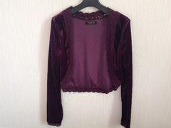 美品パープル紫色ベロアボレロカーディガンアンサンブルレース