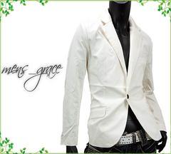 新品☆テーラードジャケット ノッチドラペル メンズ ホワイト L