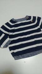 超美品★H&M 70センチ程度 紺/白ボーダーセーター