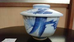 江戸期…古平戸焼松絵染付絵蓋付茶碗…成化年製窯…印…NO1