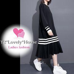 L2L3L4L*大きいサイズ*裾袖ボーダー&ひらひらマーメイド風ワンピース*黒