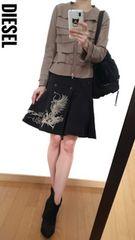 DIESEL/ディーゼル◆定価2万5000円◆総刺繍柄◆激可愛スカート