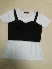 SRPeve◆重ね着白Tシャツ&黒ビスチェ2着セットL◆倖田安室系