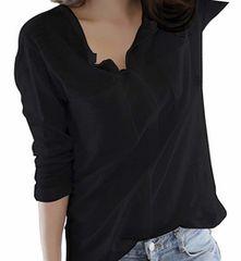 Vネック カットソー スキッパーシャツ (ブラック、Mサイズ)