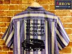 実寸M! 80's ビンテージ ワッペン付き アメ車 半袖 シャツ USA古着 ストライプ