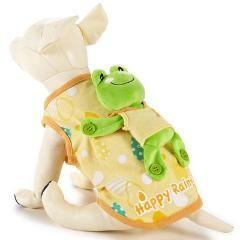 犬服 カエルをおんぶしているシャツ/イエロー黄色系/S