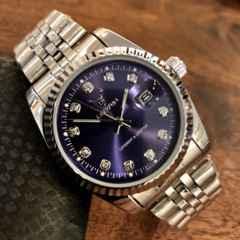 最安値★ロレックスデイトジャストタイプ♪メンズ腕時計・ネイビー×シルバー