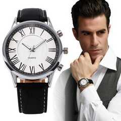 腕時計 ギリシャ文字 時計 クォーツ メンズ レザー ブラック