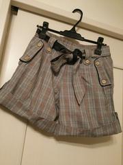 ベルト付きショートパンツキュロットスカートグレーチェック柄M