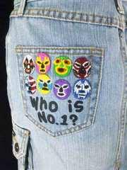 rouqh【ラフナチュラルチャーム】激カワ覆面刺繍18デニムスカート7ー9
