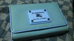 ブルーレーベル 本革製三つ折り財布 ブルー・中古