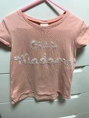 美品 ZARAキッズ チュールロゴ Tシャツ ピンク 5-6才 110cm