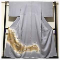 正絹 袷 色留め袖 三つ紋入り 撮影 リメイク用 中古品