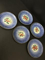 4912 てづくり 古い器 青 小皿 お花 ブルー