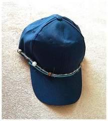 男女兼用◆動くビーズ 麻ヒモ ボタン◆ネイビー キャップ 帽子