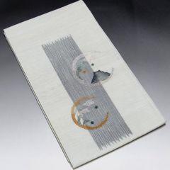 【袋帯】正絹 薄いグレー地 可愛い織り柄入り