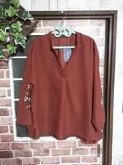 新品4L*袖刺繍ドルマンPO*テラコッタ*3L4L5L大きいサイズ