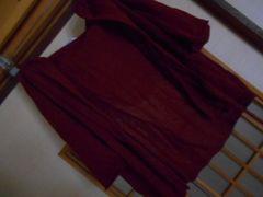 ブルー*薄手半袖オレンジパーカーカーデ*クリックポスト164円