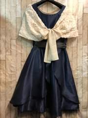 新品☆11号落ちないケープ付パーティワンピ素敵ドレス紺☆b761