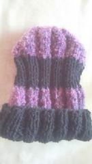 120 送込〓新品〓手編みニット帽〓ブラック×パープルmix