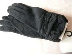 アンテプリマニット手袋黒カシミヤ入りフリーサイズM〜Lリボン