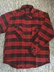 メンズ 赤×黒チェック 長袖ネルシャツ 両胸ポケット付 Mサイズ