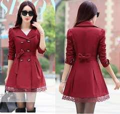 ■新品■大人可愛いバックリボン 裾レースダブルボタンコー ト深紅