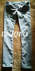 【UNIQLO】Washed ストレッチコーデュロイスリムストレートカラージーンズ 32/L.Grey