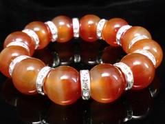 天然カーネリアン16ミリ§銀ロンデル数珠