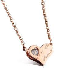 14Kピンクゴールド鍍金 CZダイヤハートネックレス