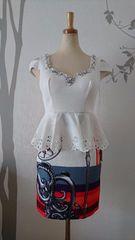 M ドレスワンピース  Jewels スカーフ柄 スカラップ 新品 J17190