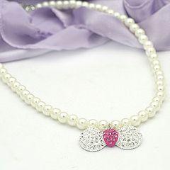 リボンペンダント 真珠風ネックレス