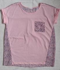 ♪GUサーモンピンク×シフォン柄Tシャツ♪S