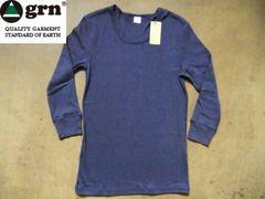 grn(ジーアールエヌ)年間使える無地7分袖Tシャツ L 紺ネイビー
