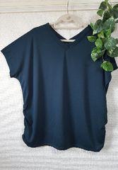 【大きいサイズ】VネックギャサーイリTシャツ/グリーン/4L/新