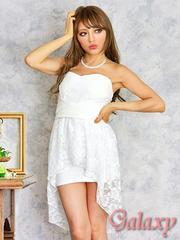 0690★胸元クロスデザイン*レースアシメペプラムミニドレス*ホワイト