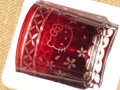 未使用☆ハローキティ*桜舞う切子グラス(赤)単品
