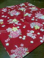 新品☆和柄♪小ふろしき♪花柄 赤色 風呂敷