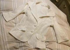 コムサデモード◆5〜7号◆可愛い白の春夏柔らか七分袖ジャケット