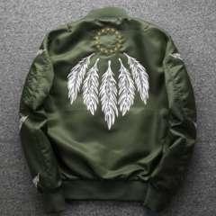 メンズ MA1 フライトジャケット 秋冬 プリント 刺繍