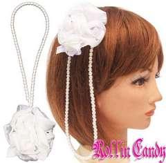 41$)パール&ラインストーン薔薇ヘッドドレス白ホワイトパーティー結婚式ヘアアクセ髪飾り