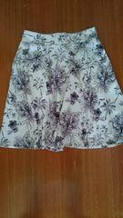 オゾックOZOC 白 花柄 フレアーミニスカート 中古品