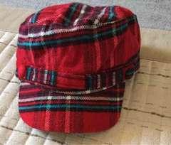 チェック柄帽子